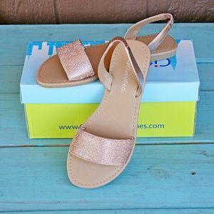 Nice-S Copper Rhinestone Open Toe Sandals NEW